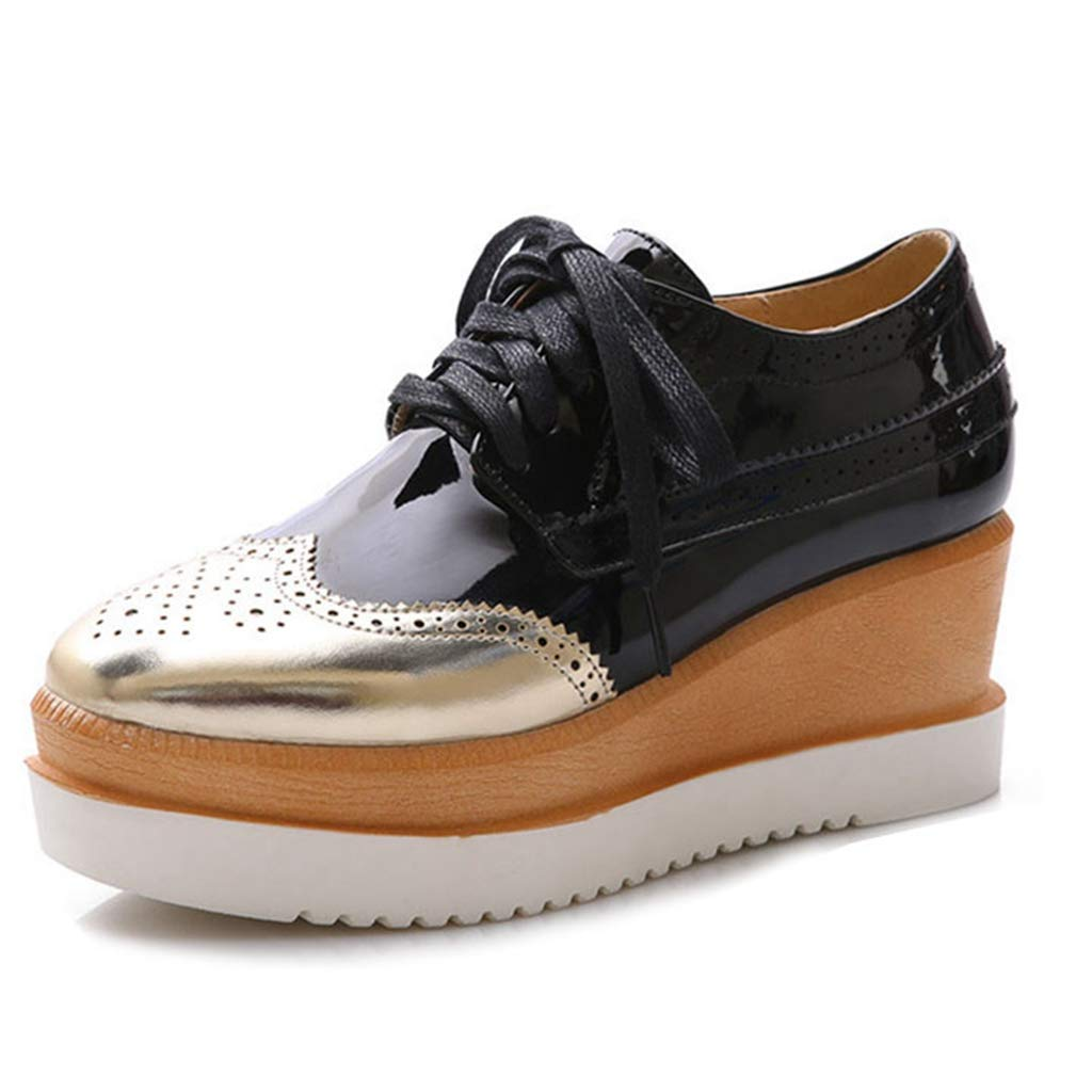 Women's Wedge Platform Oxfords Perforated Lace-up Pointed Toe Slip On Vintage Oxford Dress Shoes