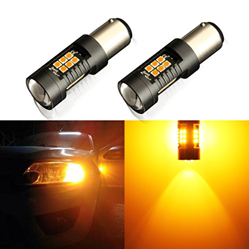 TOAUTO 1157 LED Bulbs Super Bright 2057 2357 BAY15D Bulb Amber Yellow, Use for Car Tail Lights, Brake lights, Turn Signal Lights