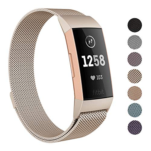 (SWEES Metal Bands Compatible Fitbit Charge 3 and Charge 3 SE, Stainless Steel Magnetic Small (5.5