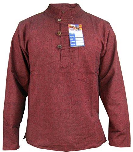 Mens-Plain-Cotton-Hemp-Grandad-Collarless-Pocket-Maroon-Shirt