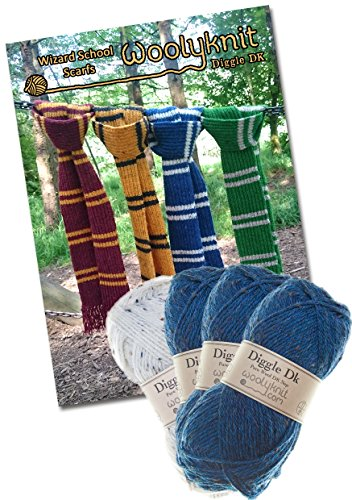 Wizard School Scarf Knitting Bundle Pack. Wool and Knitting Pattern Provided! (Blue) by Woolyknit