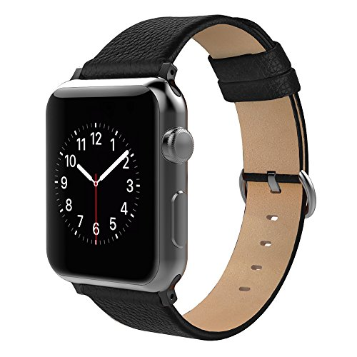 Simpeak Apple Watch Bands 38mm, Replacement Genuine Leather Band Strap with Stainless Steel Buckle for Apple Watch 38mm Series 1/2/3 (Adaptors Included), Black