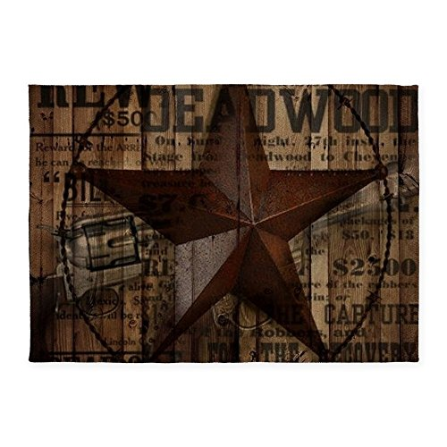 Lone Star Throw (CafePress - Primitive Texas Lone Star Cowboy - Decorative Area Rug, 5'x7' Throw Rug)