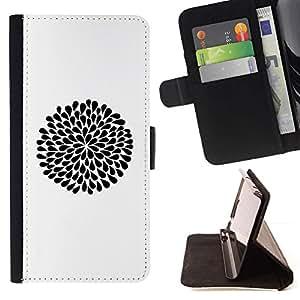 For HTC Desire 820 Case , Minimalista Limpio Negro Flor de tinta blanca- la tarjeta de Crédito Slots PU Funda de cuero Monedero caso cubierta de piel