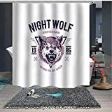 Born to Fish Shower Curtain Interesting shower curtain Born to be Wild Angry Animal Vintage Grunge Illustration Roaring Savage Retro Decorative (72W x 72L Inch) Colorful,bold design, waterproof, Easy to care ,privacy protection
