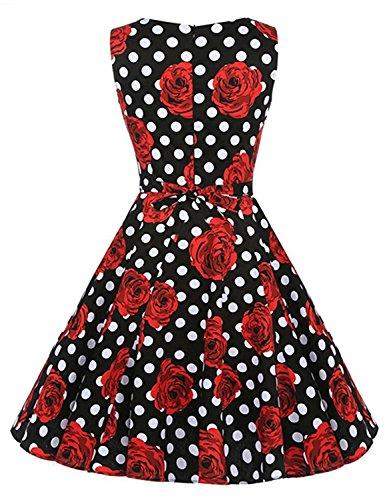 Aecibzo Millésime Robe Swing Cocktail Robe De Soirée De Pique-nique Party Jardin Fleuri De 1950 Noir Rose