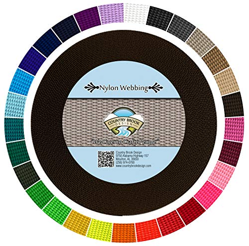 Heavy Durable - Country Brook Design | Durable 1 Inch Heavy Nylon Webbing | 28 Vibrant Colors (Brown, 50 Yards)