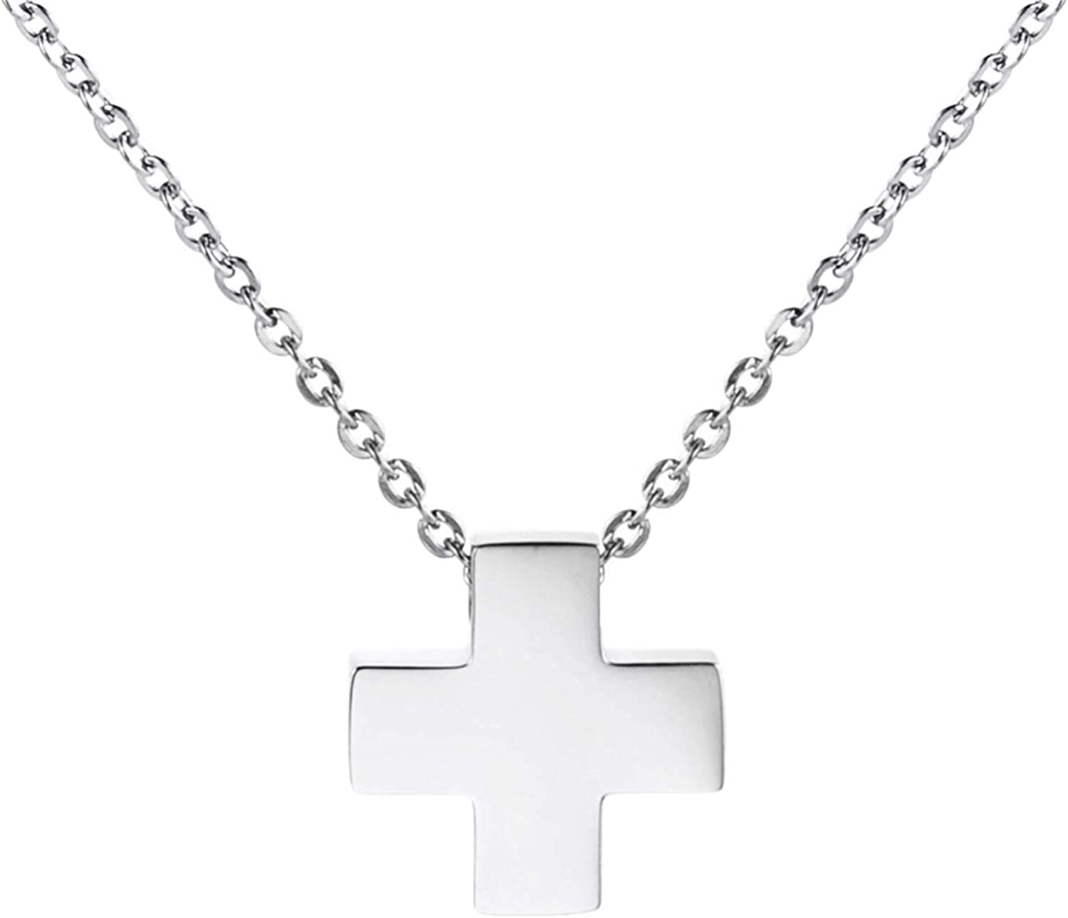 HAMANY Mens Classic Cross Stainless Steel Pendant Necklace Chain with a 44cm+4cm Stainless Steel Necklace and velvert Bag