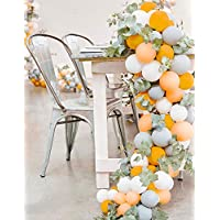 PartyWoo Gray and Orange Balloons 80 pcs Matte Balloons Pack of Gray Balloon Pack Orange and White Balloons Peach Helium Balloons for Girls Birthday, Girls Baby Shower, Gray and Peach Wedding