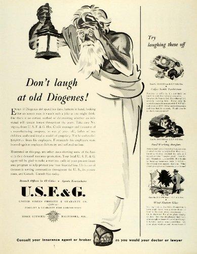 1943 Ad Usfg United States Fidelity Guaranty Insurance Burglary Coffee Scalding   Original Print Ad
