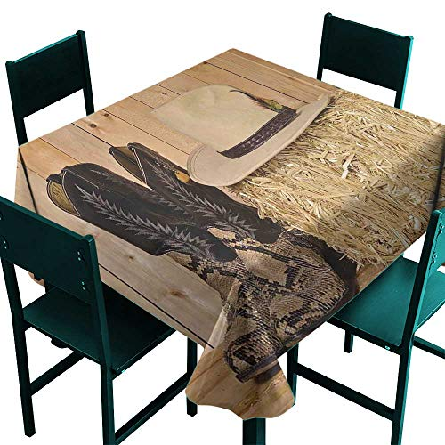 Warm Family Western Decor Washable Table Cloth Snake Skin Cowboy Boots Timber Planks in Barn with Hay Old West Austin Texas Great for Buffet Table W60 x L60 Cream ()