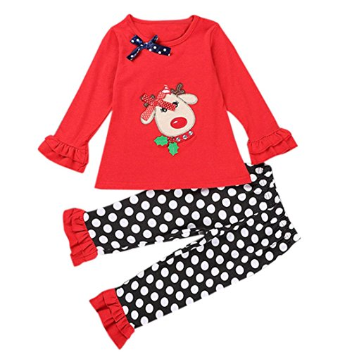 Baby Elk Christmas Suit, Misaky Print T-Shirt +Dot Pants Outfits Set (24M, red) - Dot Layette Set