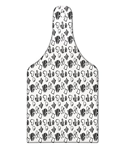 ting Board, Monochrome Design of Playing Card Icons Repetitive Gambling Game Themed Ornaments, Decorative Tempered Glass Cutting and Serving Board, Wine Bottle Shape, Black White ()