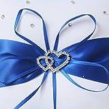 Amajoy 2pcs Wedding Set White Satin and Royal