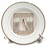 3dRose Beverly Turner Wedding Bridal Party Design - Bride in Wedding Gown, Drapes in Window, Invitation, Cream and Rose - 8 inch Porcelain Plate (cp_282068_1)