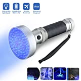 Black Light,Focuspet UV Flashlight 100 LED Blacklight Pet Dog Cat Urine Stain Detector Torch Light Money Scorpion Detector Finder Stains on Carpet Rugs Furniture Material 6xAA batteries