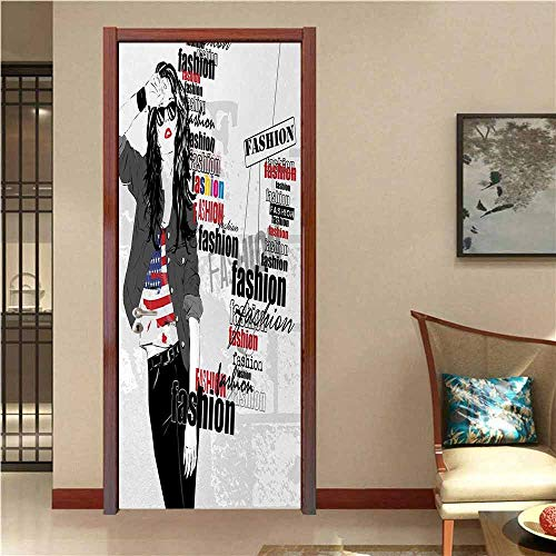 Girls Door Sticker A Modern Teen Girl with USA Flag T-Shirt Fashion Obsession Beauty in The Street Removable Door Decal for Home Decor Black White Red W32 x H80 INCH (Best Taxi App In Usa)