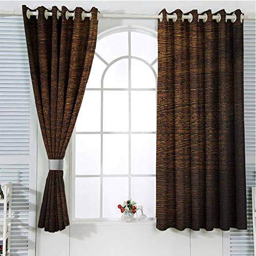 FreeKite Wooden Patio Door Curtains for Bedroom Old Vintage Antique Timber Oak Background Rustic Floor Artisan Photo Print Thermal Insulated Noise Reducing W96 x L96 Inch Chestnut and Brown (Patio External Doors Oak)