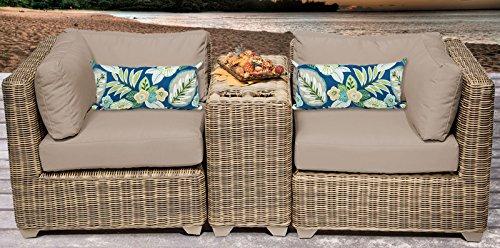 Cape Cod Wicker (TK Classics 3 Piece 03b Cape Cod Outdoor Wicker Patio Furniture Set, Wheat)