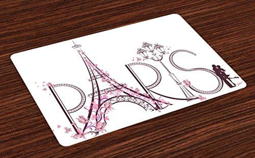 Lunarable Paris Place Mats Set of 4, Tower Eiffel with Paris Lettering Couple Trip Flowers Floral Artful Design Print, Washable Fabric Placemats for Dining Room Kitchen Table Decor, Plum Pale Pink