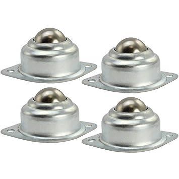 4 ruedas de bola, ruedas de muebles, rodamientos de bolas con agujeros de montaje de brida inferior, hecho de acero: Amazon.es: Hogar