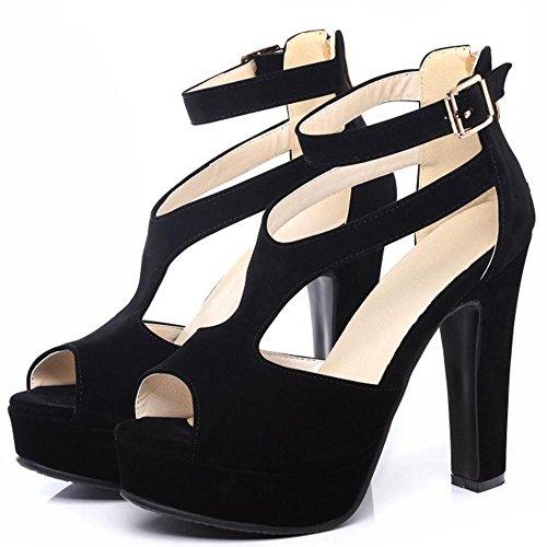 TAOFFEN Mujer Zapatos Western Tacon Ancho Plataforma Tacon Alto Sandalias De Hebilla Negro