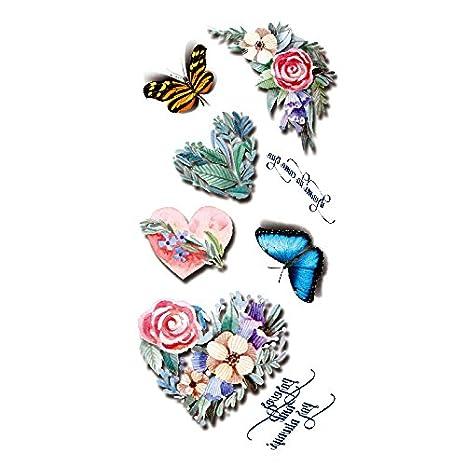 Oottati Tatuajes Temporales 3D Mariposa Del Corazón Flor (2 hojas ...