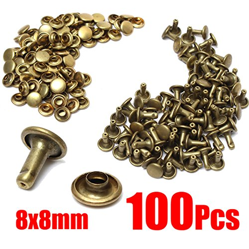 100pcs Brass Leather Craft Rivets Studs Fastener Poppers Sewing Repair Tool 8x8mm