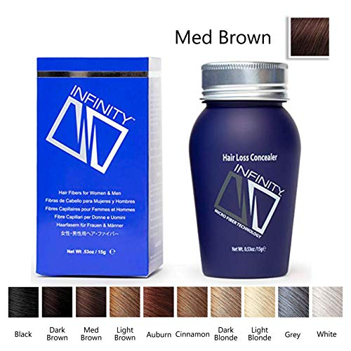 Infinity Hair Building Fibers for Thinning Hair - Hair Loss Concealer, Medium Brown, 15g