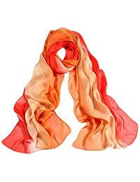 Muke Womens Silk Blend Ombre Oblong Gradient Color Chiffon Scarf