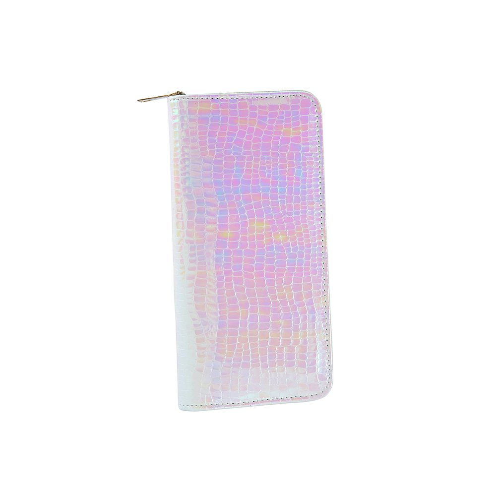 OULII Fashion Snake Skin Long Wallet Zipper Holographic Clutch Long Wallet Pouch Purse Handbag for Women Girls (Pink)