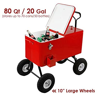 "Clevr 80 Qt Party Wagon Cooler Rolling Cooler Ice Chest, Red, with Long Handle and 10"" All Terrain Wheels, Portable Patio Party Bar Cold Drink Beverage Chest"