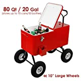 Clevr 80 Qt Party Wagon Cooler Rolling Cooler Ice Chest, Red, with Long Handle and 10'' All Terrain Wheels, Portable Patio Party Bar Cold Drink Beverage Chest, Outdoor Cooler Cart on Wheels