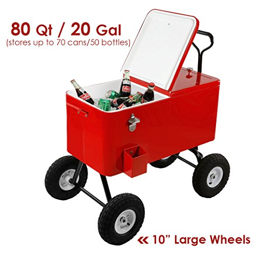 Buy Discount Clevr 80 Qt Party Wagon Cooler Rolling Cooler Ice Chest, Red, with Long Handle and 10″ All Terrain Wheels, Portable Patio Party Bar Cold Drink Beverage Chest, Outdoor Cooler Cart on Wheels