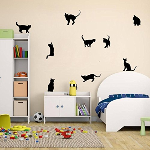Ussore Cats Wall Stickers Art Decals Mural Wallpaper Decor DIY Decoration for (Black Cat Tile)