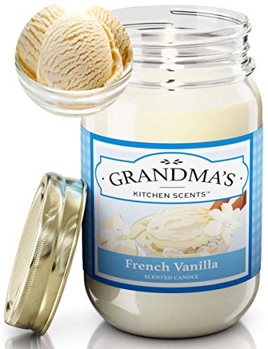 French Vanilla Scented Candles for Home | Non Toxic Long Lasting Soy Candles | Delicious Scent | Large 16 oz Mason Jar | Hand Made in The USA