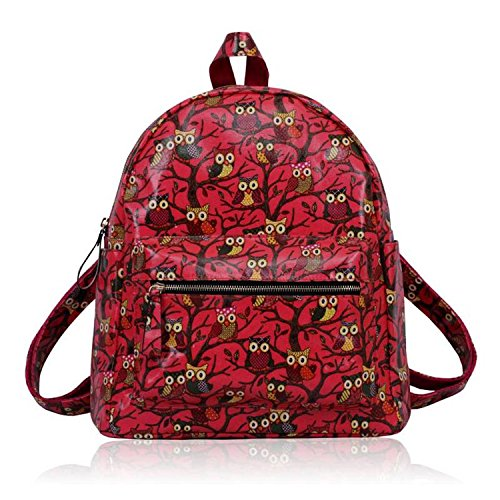 Xardi London Medium Kid School Bag Backpack Leather Style Designer College Men Women Rucksack Coral Oilcloth Owl