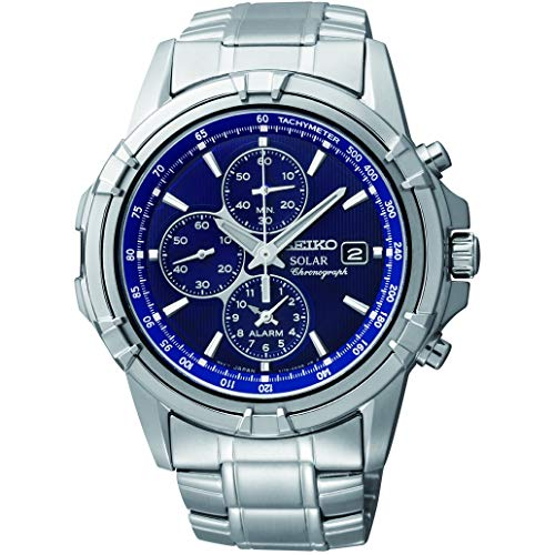 Chronograph Dial Blue Mens - Seiko Men's Solar SSC141 Silver Stainless-Steel Quartz Watch with Blue Dial