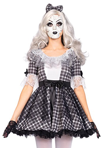 Leg Avenue Women's 3 Piece Pretty Porcelain Doll Costume, Black/White, Medium ()