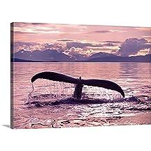 Canvas On Demand Premium Thick-Wrap Canvas Wall Art Print entitled Closeup Humpback Whale Tail Fredrick Sound Southeast Alaska Summer Mountains