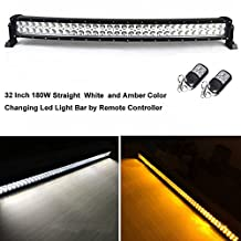Night Break Light Remote Controller 180w 32Inch Amber White Color Changing Led Light Bar 9 different Flashing Modes Led Strobe Light Combo Beam 18000LM for Offroad 4x4 Truck Jeep 4WD RZR ATV SUV UTV