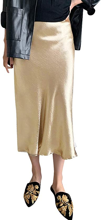 QIjinlook 💖Falda de satén Mujer Sexy💖, Faldas largas Mujer ...