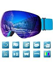Laxstory Skibrille Für Damen und Herren Ski Snowboard Brille brillenträger Skibrille OTG UV400 Anti-Fog UV-Schutz Skibrillen Verbesserte Belüftung für Skifahren