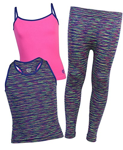 Body Glove Girls 3-Piece Athletic Tank Tops and Leggings Set, Royal, Size 4/5'