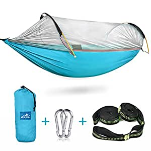 Camping Hammock with Mosquito Bug Net, Ace Teah Outdoors Travel Mosquito Net Hammock with Tree Straps Easy to Set up Portable Swing Sleeping Tree Hammock Bed for Hiking Backpacking Backyard - Blue