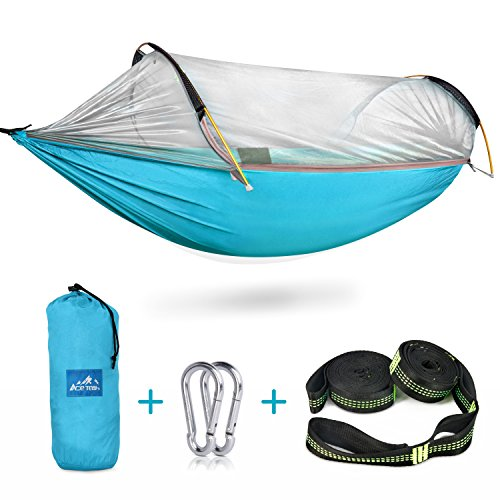 Hammock Bed Set - Camping Hammock with Mosquito Bug Net, Ace Teah Outdoors Travel Mosquito Net Hammock with Tree Straps Easy to Set up Portable Swing Sleeping Tree Hammock Bed for Hiking Backpacking Backyard - Blue