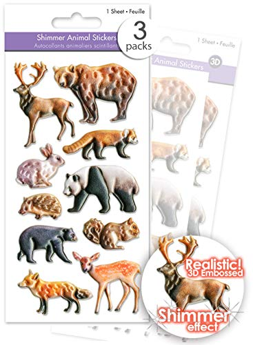 3 Pks Shimmer Puffy Woodland Animals Stickers for Kids, 3D Woodland Animals Stickers for Scrapbooking, 3D Woodland Animals Embellishments Moose Bear Rabbit Porcupine Deer Fawn Fox Squirrel - Bulk