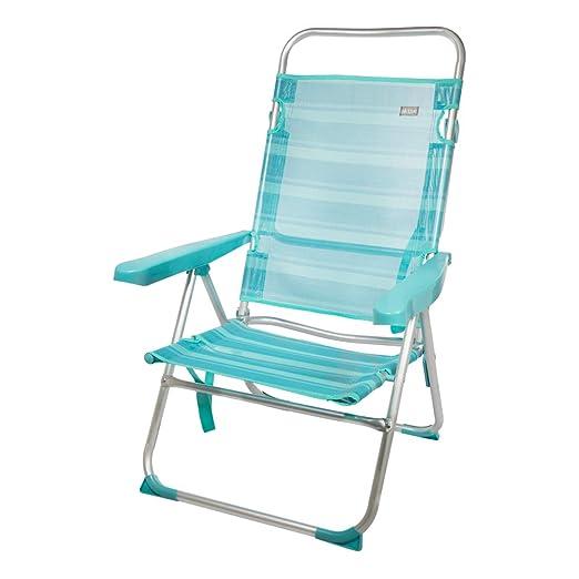 Aktive 53964 Silla multiposición aluminio Beach, 50 x 64 x 100 cm Azul mediterráneo
