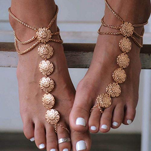 Milanco Gypsy Layered Anklet Flower Coin Foot Jewelry