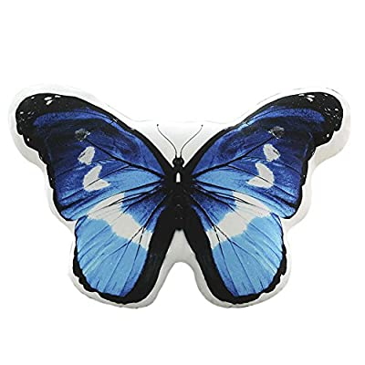 Funif Butterfly Throw Pillow Decorative Back Cushion Stuffed Plush Soft Toy for Kids Gift Blue 15.8
